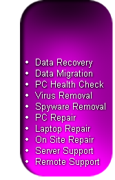 Data Recovery Data Migration PC Health Check Virus Removal Spyware Removal PC Repair Laptop Repair On Site Repair Server Support Remote Support